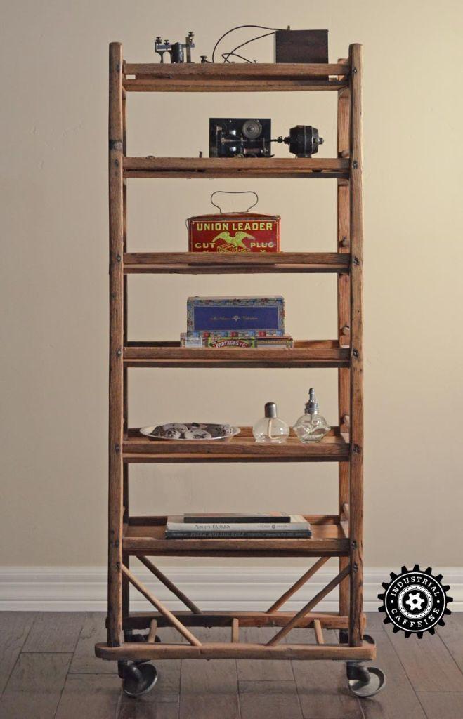 Antique Wooden Rolling Rack