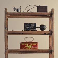 Antique Oak Rolling Shoe Rack