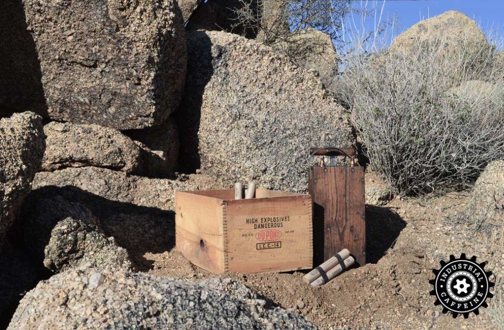 Blasting Machine and Explosives in Desert
