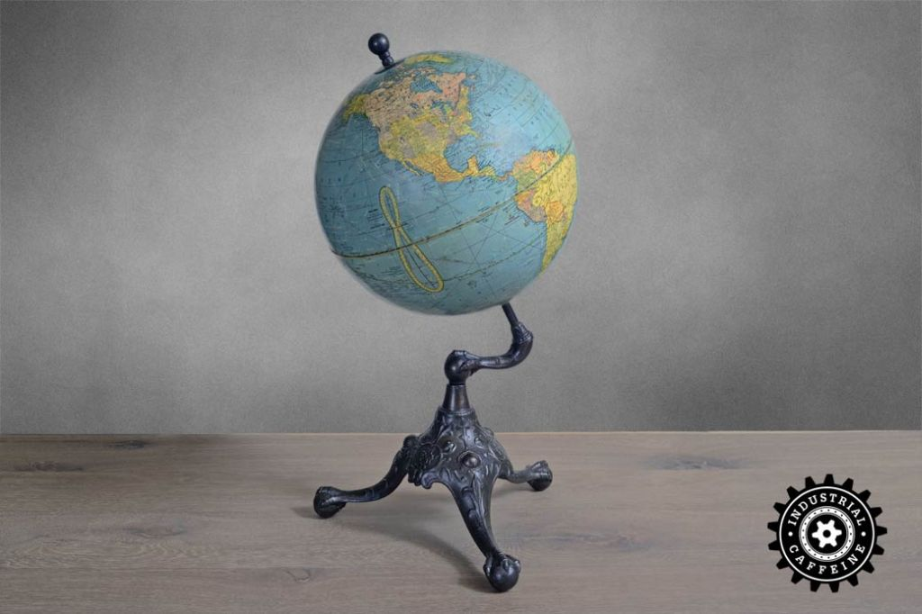 ... Reclaimed Wood Tabletop Early World Globe on Ball & Claw Base Vintage